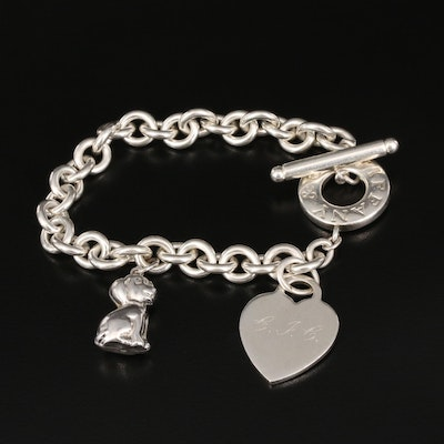 Tiffany & Co. Sterling Toggle Bracelet with Heart Charm