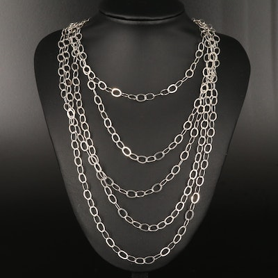 Sterling Rope Length Cable Chain Necklace