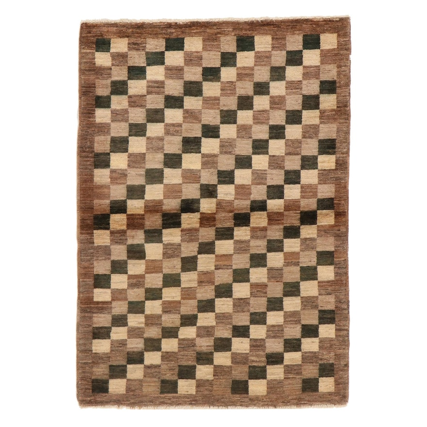 3'7 x 5'1 Hand-Knotted Afghan Gabbeh Wool Area Rug