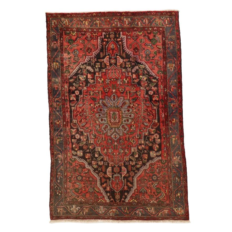 4'2 x 6'5 Hand-Knotted Afghan Bijar Wool Area Rug