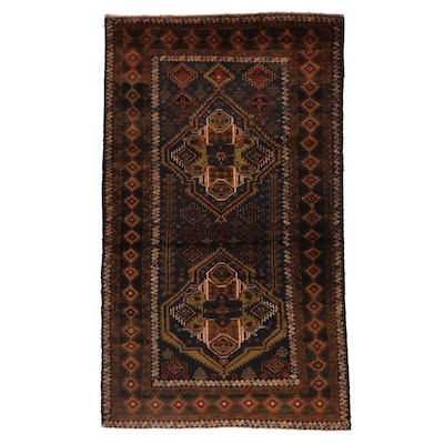 4'1 x 6'8 Hand-Knotted Afghan Baluch Wool Area Rug