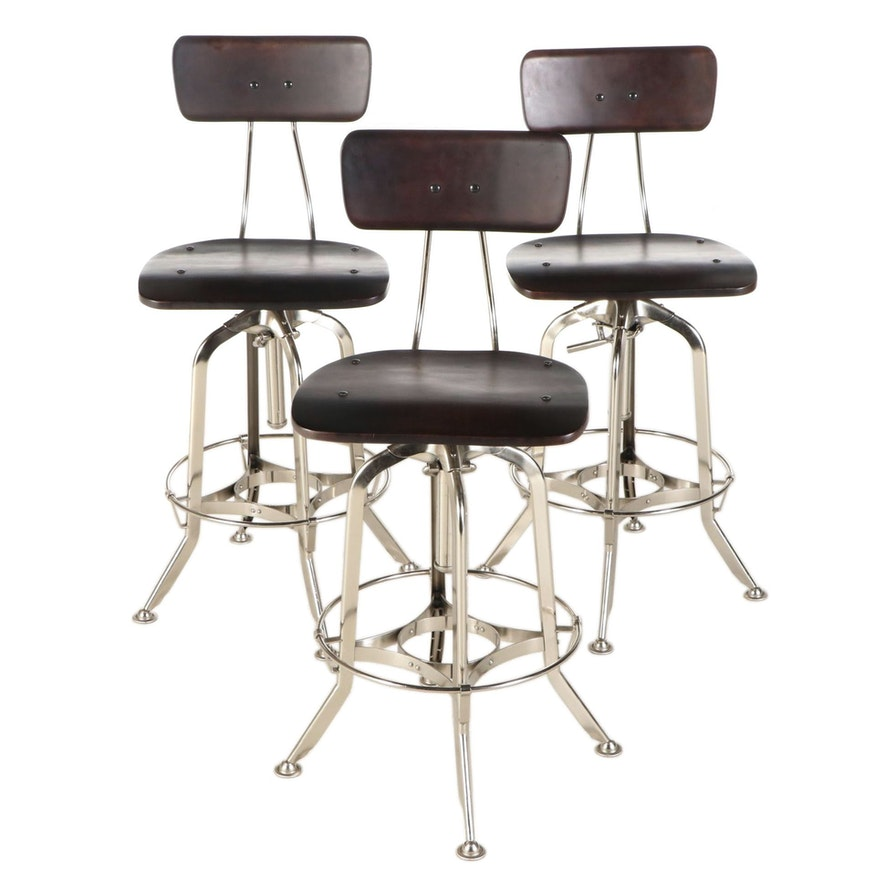 Three Industrial Style Adjustable Height Stools, Late 20th/Early 21st Century