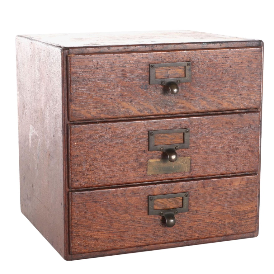 American Oak Three-Drawer Card File with Kyanize Label, Early 20th Century