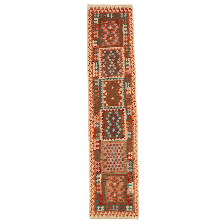 2'11 x 12'10 Handwoven Afghan Kilim Carpet Runner