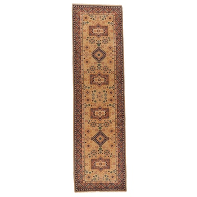 2'8 x 9'8 Hand-Knotted Afghan Kazak Wool Carpet Runner