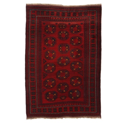 6'7 x 9'11 Hand-Knotted Afghan Turkmen Area Rug