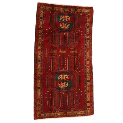 4'10 x 9' Hand-Knotted Caucasian Kazak Area Rug