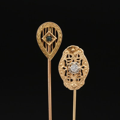 Art Nouveau Style 14K Diamond Stick Pin and Art Deco 10K Glass  Stick Pin
