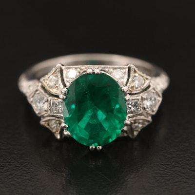 Art Deco Platinum Emerald and Diamond Ring