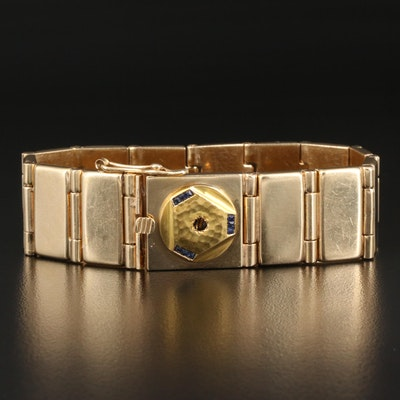 14K Rectangular Panel Link Bracelet with 18K Sapphire Accent
