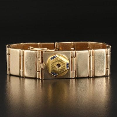14K Rectangular Panel Link Bracelet with 18K Sapphire Accent