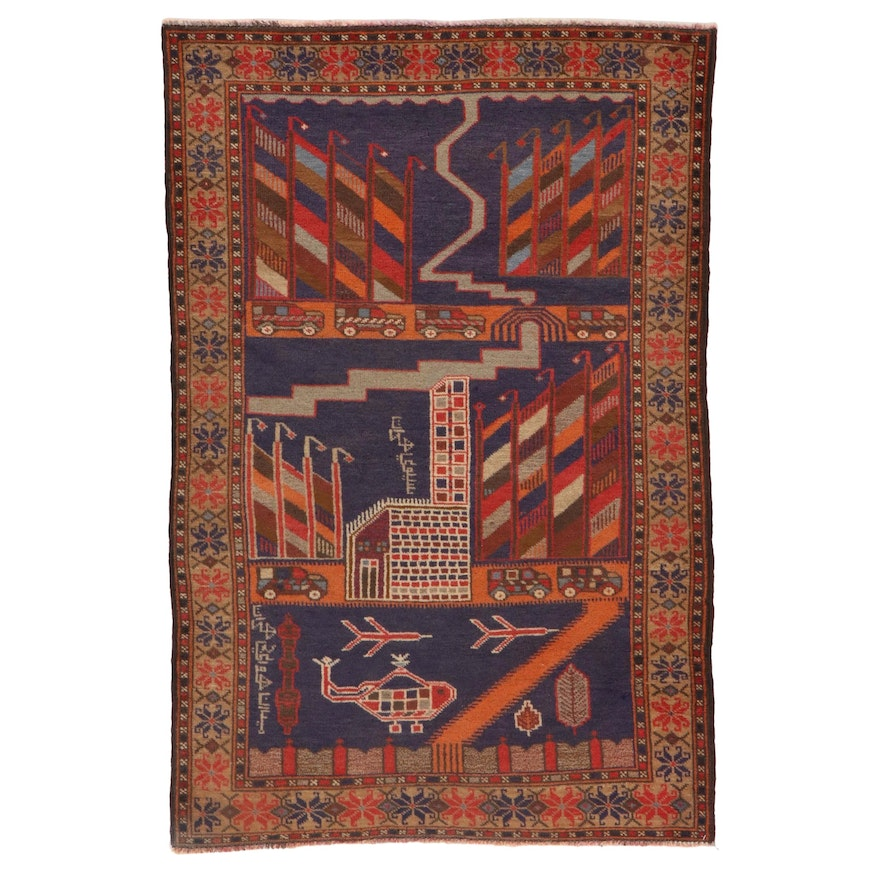 3'1 x 4'10 Hand-Knotted Afghan Baluch Pictorial War Rug