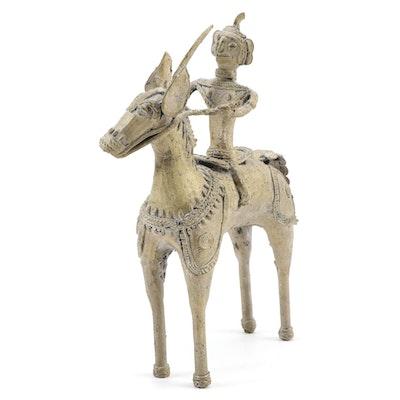 Dhokra Style Sculpture of Warrior on Horseback
