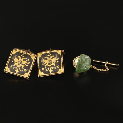 Vintage Damascene Double Eagle Cufflinks with Nephrite Tie Tack