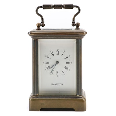 Hampton Brass 11 Jewels Carriage Clock, Late 20th Century