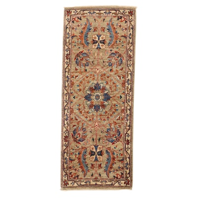 2' x 5' Hand-Knotted Afghan Tabriz Carpet Runner, 2010s