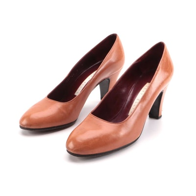 Perry Ellis Tan Leather Round Toe Pumps