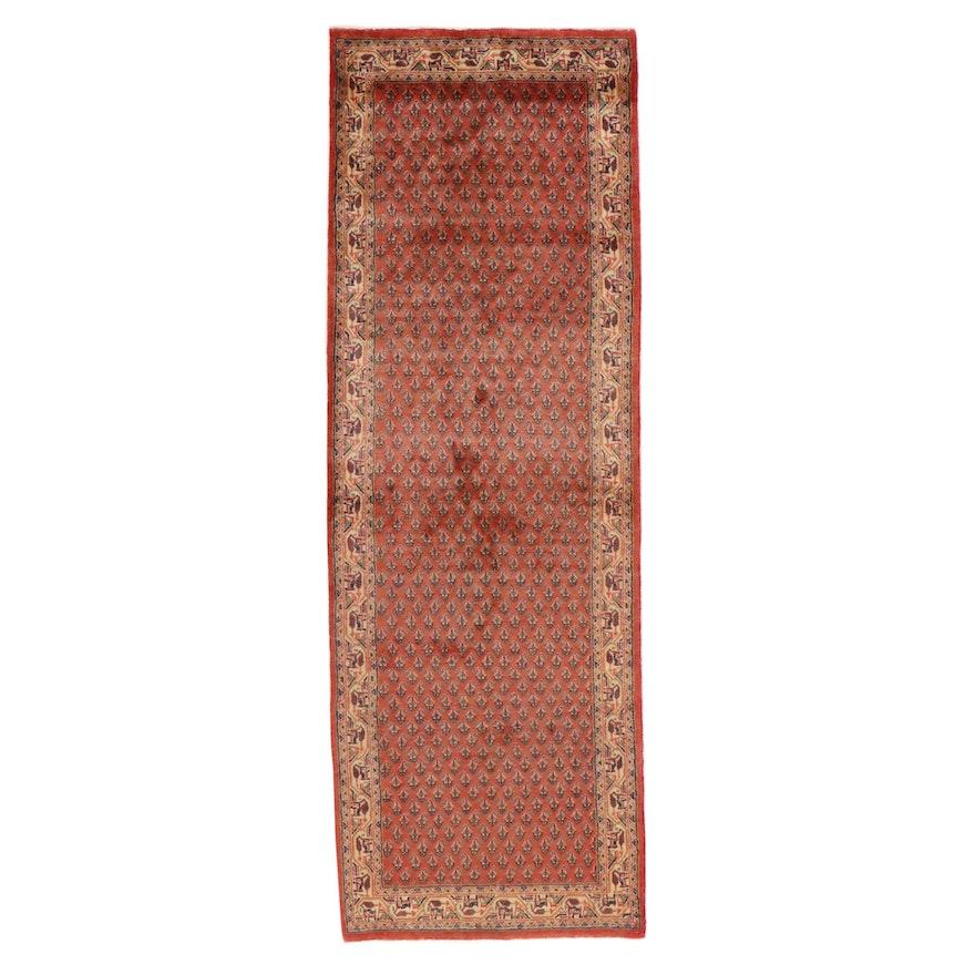 3'6 x 10'3 Hand-Knotted Persian Mir Sarouk Long Rug, 1970s