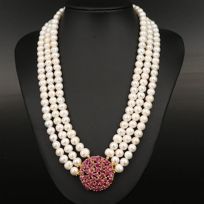 Sterling Corundum and Pearl Festoon Necklace