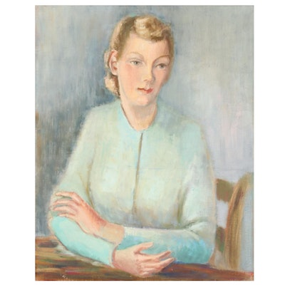 Leah Frandzel Oil Portrait of Woman in Blue, Mid to Late 20th Century