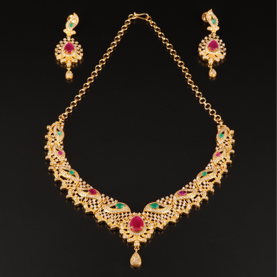 Indian Festoon Necklace and Earrings Set with Gemstone Accents