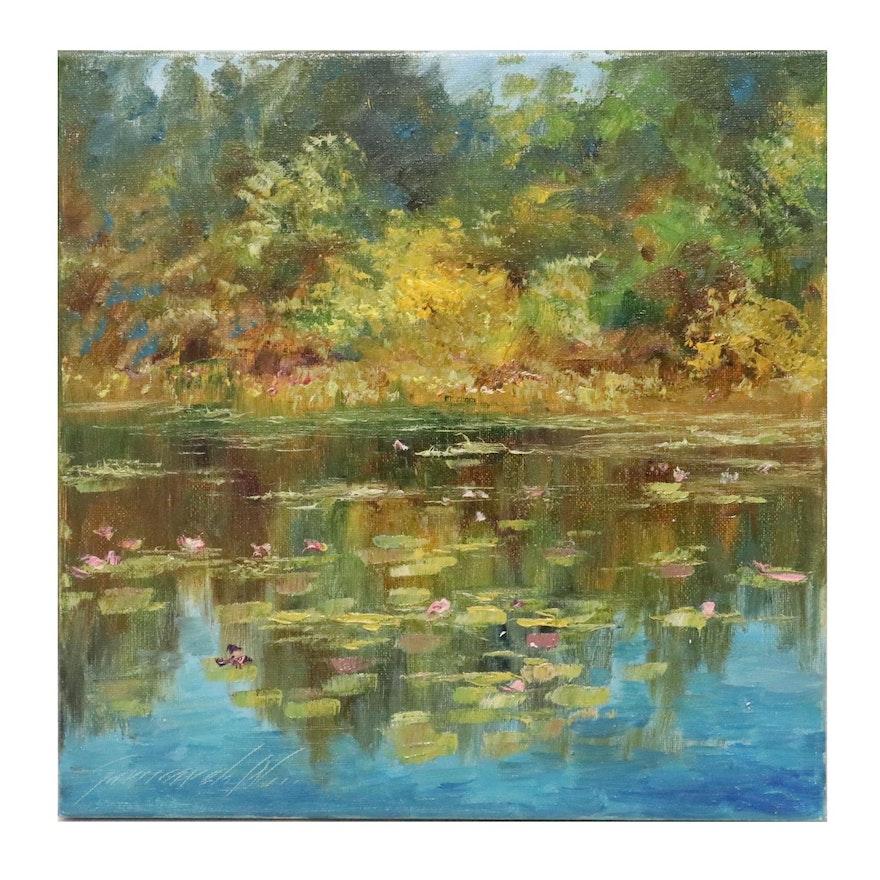 "Garncarek Aleksander Oil Painting ""Nad Stawem,"" 2020"
