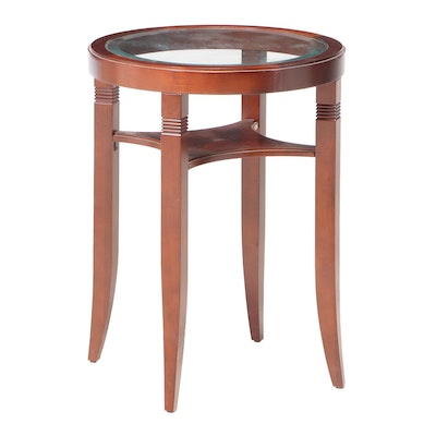 Bombay Company Mahogany End Table with Inset Glass