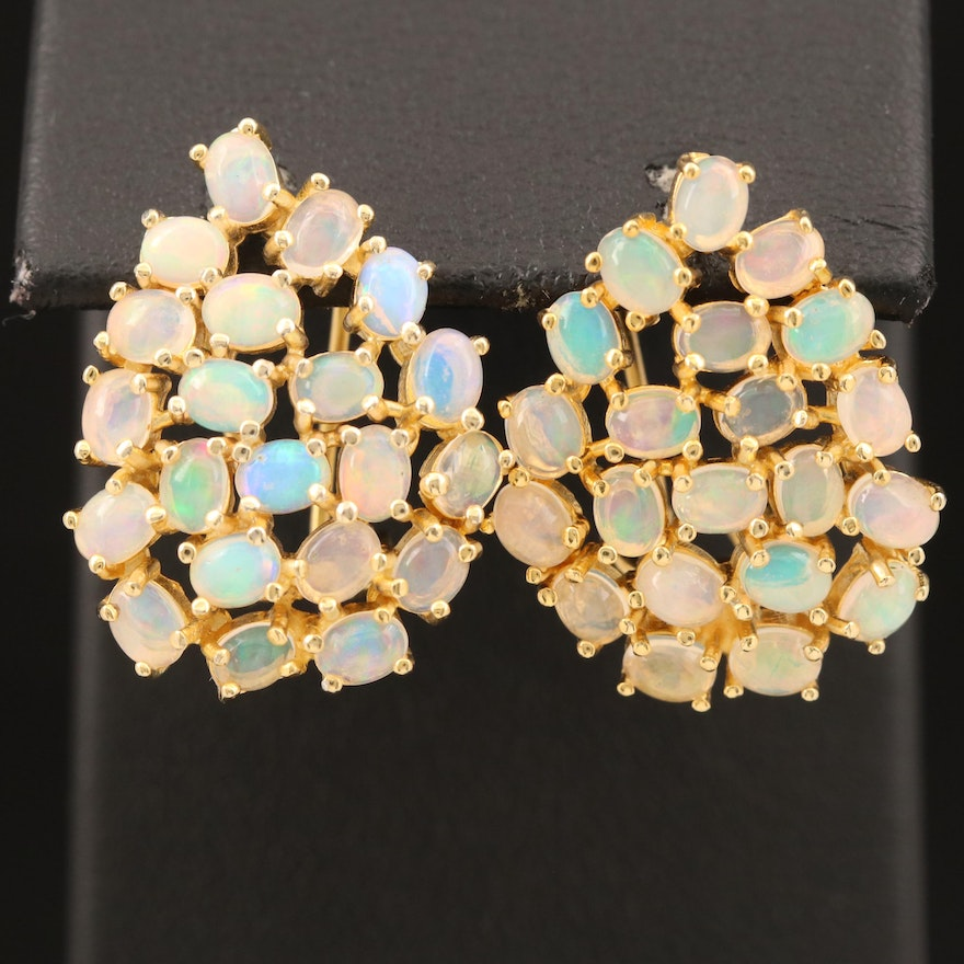 Sterling Opal Cluster Earrings
