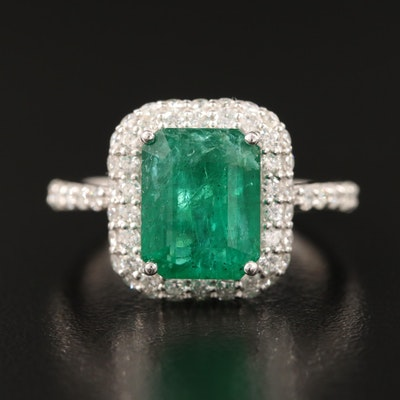 Platinum 3.95 CT Emerald and Pavé Diamond Halo Ring