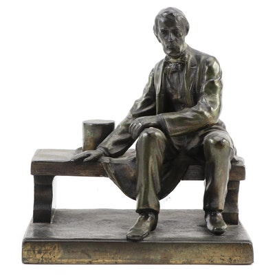 "Brass Figurine after Gutzon Borglum ""Seated Lincoln"""