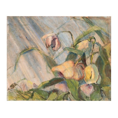 Leah Frandzel Still Life Oil Painting of Drooping Flowers, Mid-20th Century