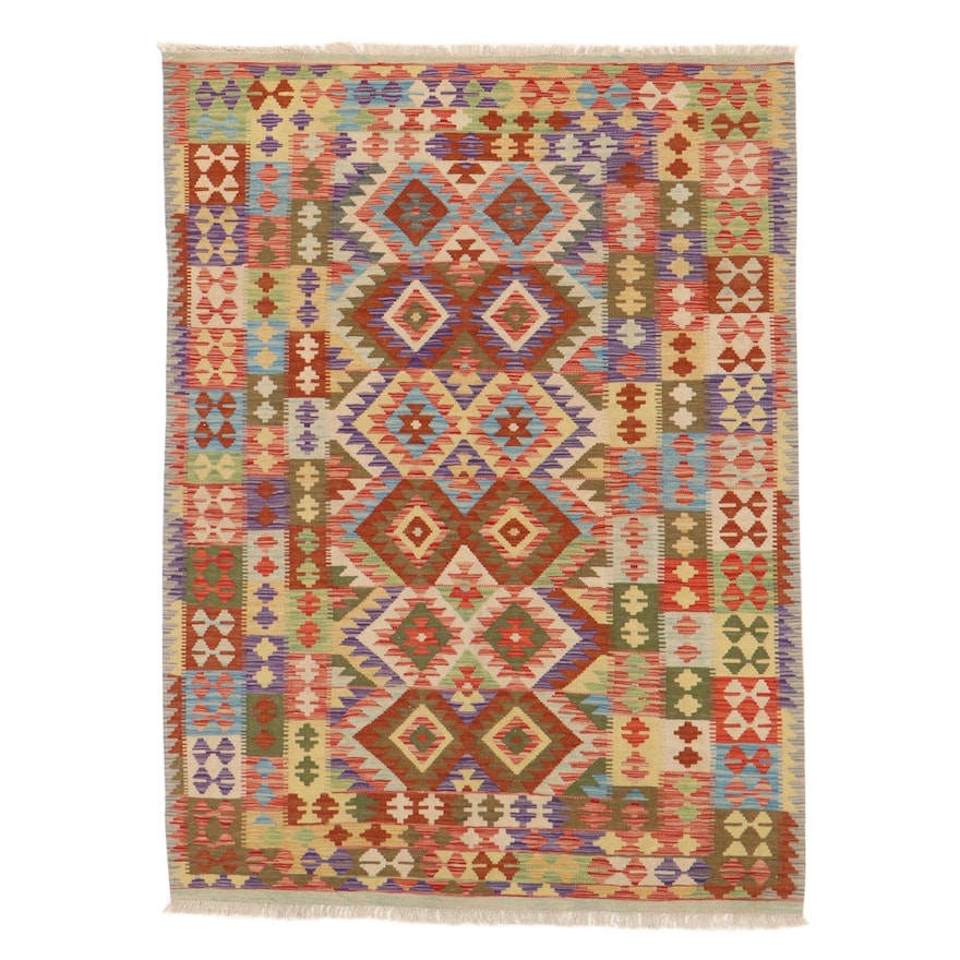 4'11 x 6'9 Handwoven Turkish Kazak Kilim Rug, 2010s