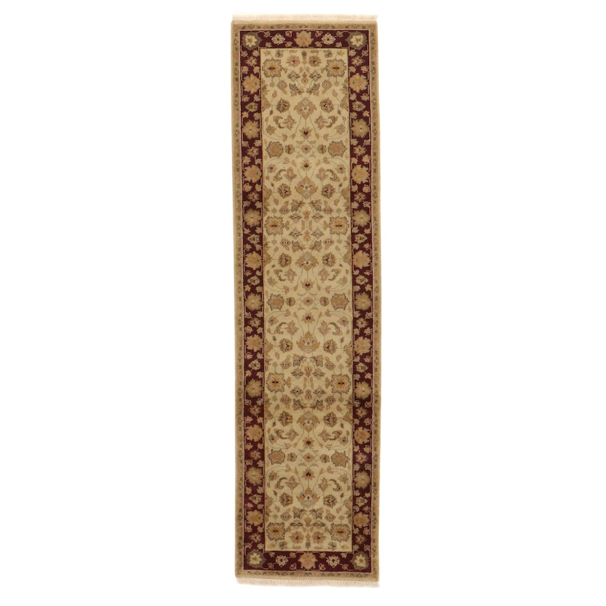 2'7 x 10'3 Hand-Knotted Indo-Persian Tabriz Carpet Runner, 2000s