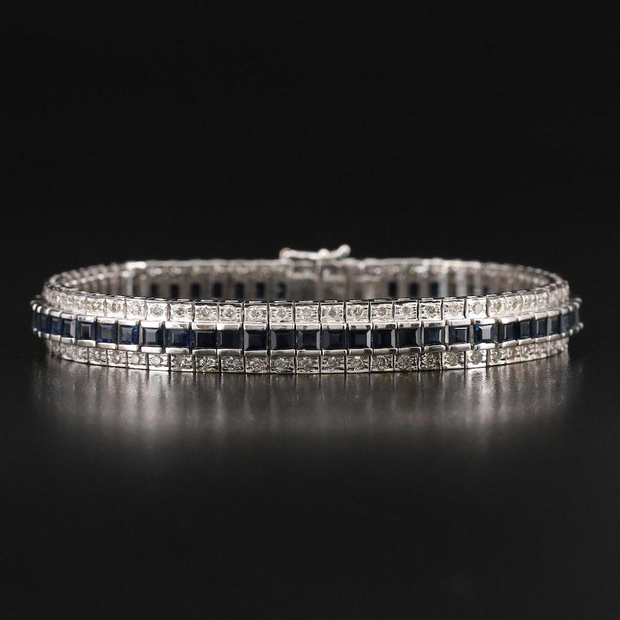 Art Deco Style 14K Sapphire and 2.24 CTW Diamond Bracelet