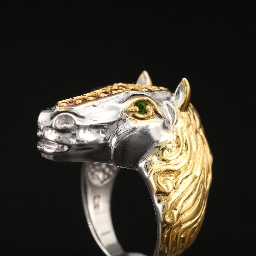 Sterling Garnet and Diopside Figural Equine Ring