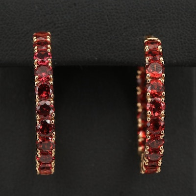 Sterling Garnet Inside-Out Hinged Hoop Earrings
