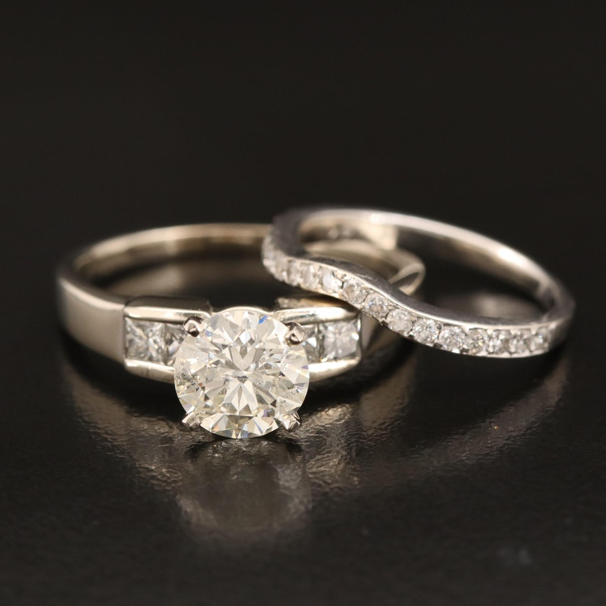 18K 2.32 CTW Diamond Cathedral Ring and 14K Shadow Band with GIA Report