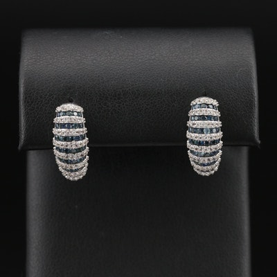 Sterling Topaz and Sapphire Fluted Half Hoop Earrings