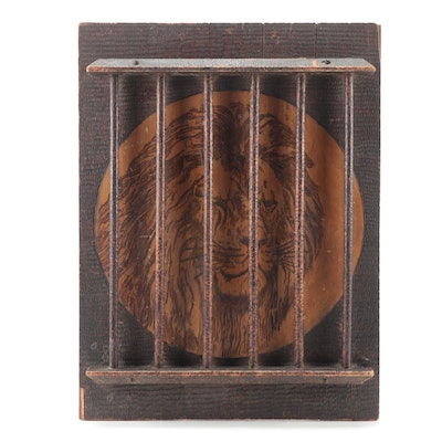 Caged Lion Dimensional Pyrography Wall Decor