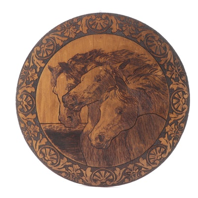 Pyrography Horse Motif Wooden Wall Plaque
