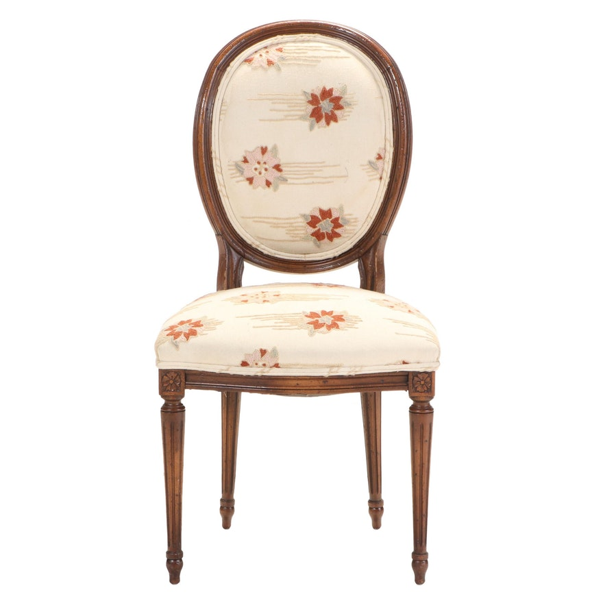 Louis XVI Style Side Chair with Crewelwork Upholstery