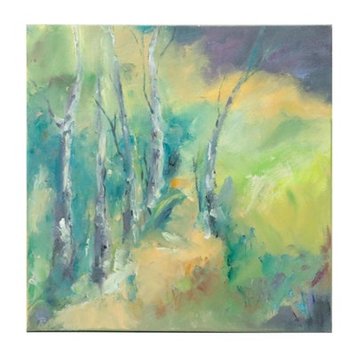 """Rebecca Manns Oil Painting """"Sharing the Forest Floor,"""" 2021"""