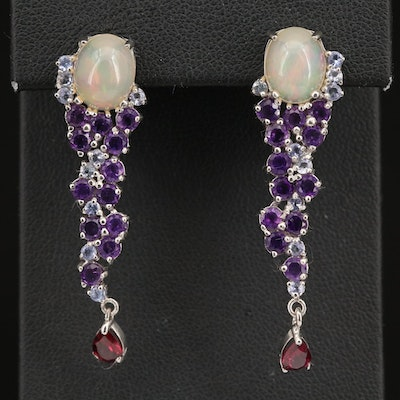 Sterling Opal and Gemstone Cluster Drop Earrings