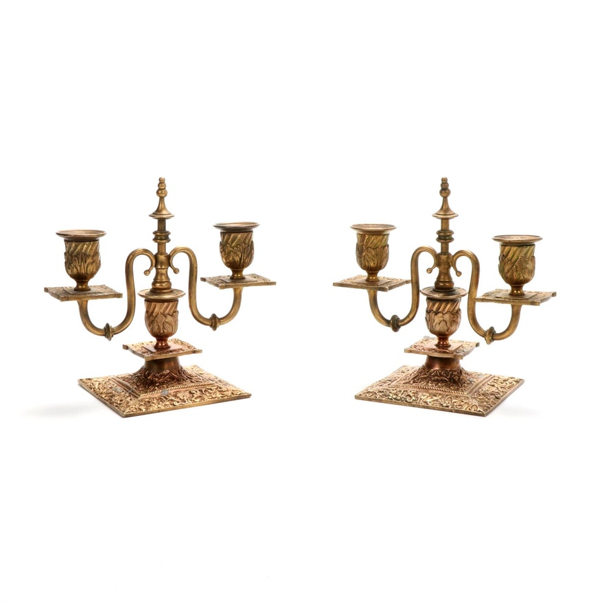 Neoclassical Gilt Bronze Two Light Candlesticks, Late 19th to Early 20th Century