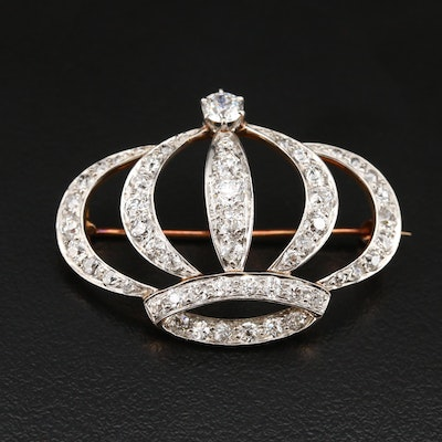 Edwardian Platinum and 14K 2.95 CTW Diamond Converter Crown Brooch