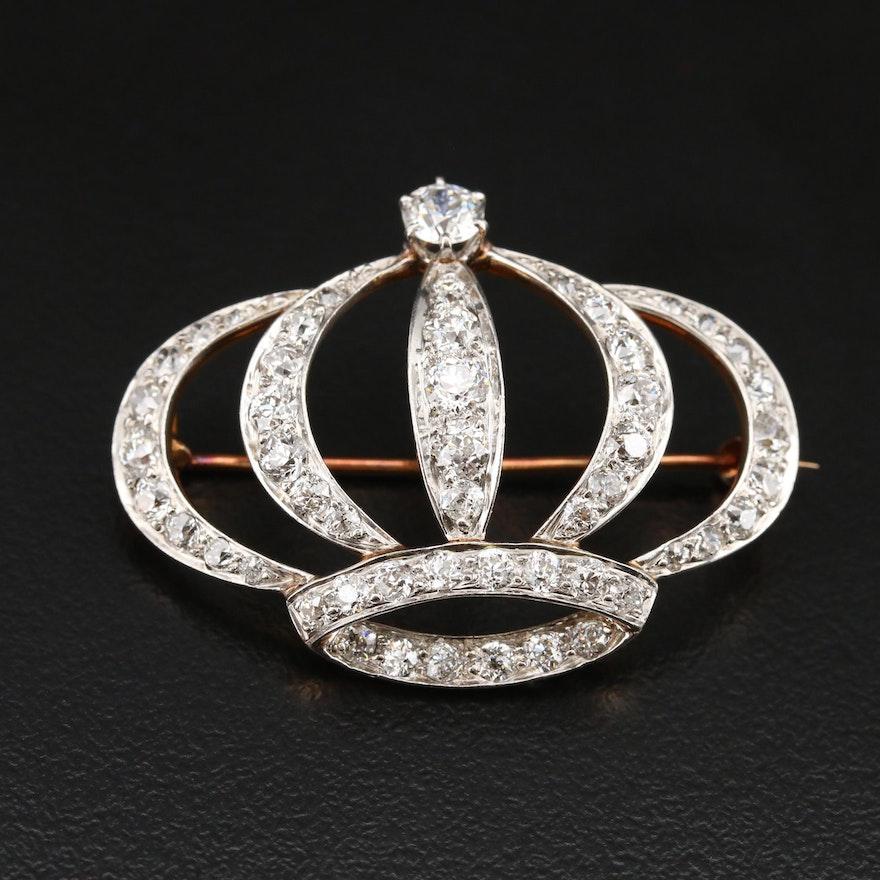Edwardian Platinum and 14K 2.95 CTW Diamond Converter Crown Brooch