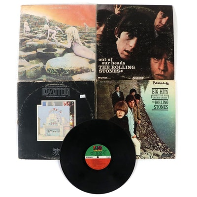 Rolling Stones and Led Zeppelin Vinyl Record Albums
