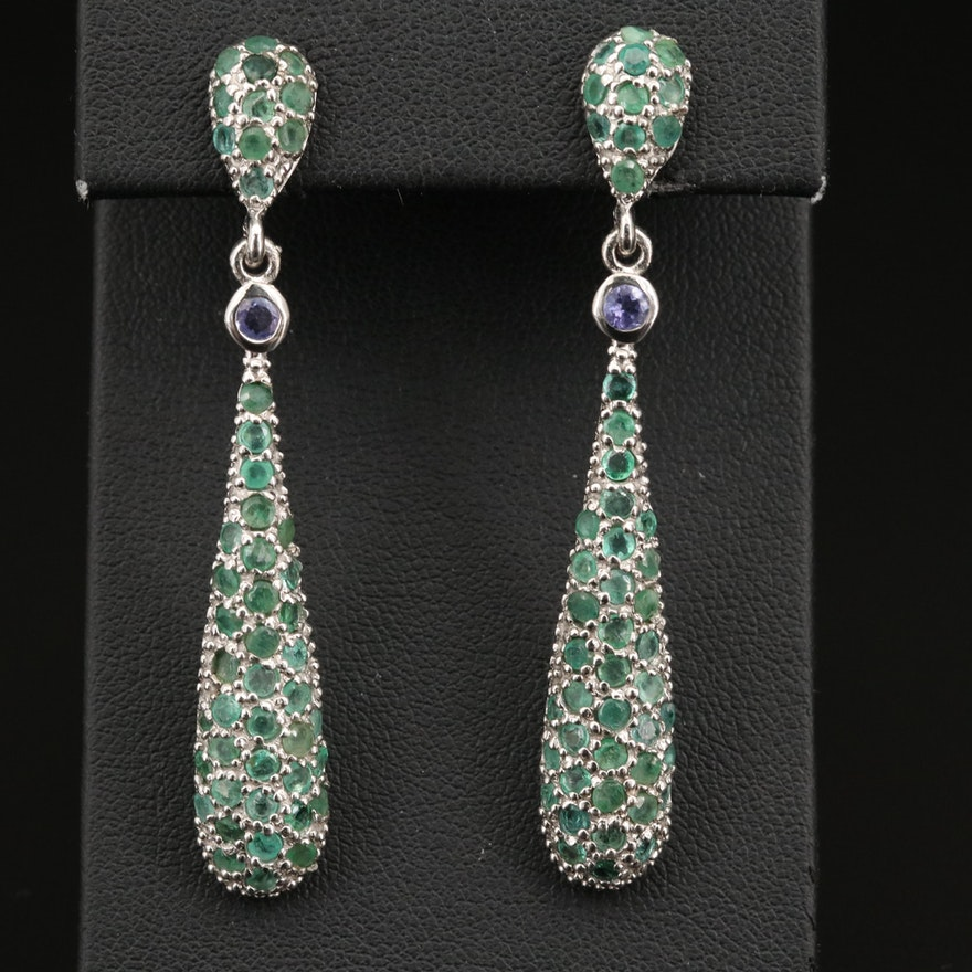 Sterling Emerald and Tanzanite Drop Earrings