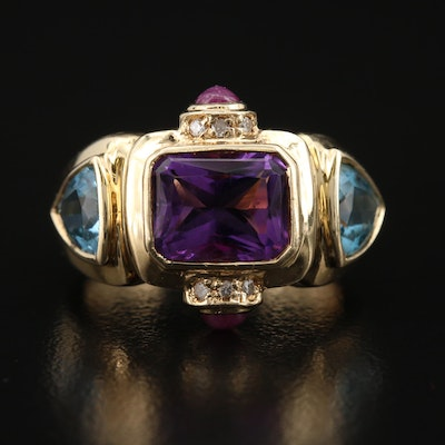 14K Amethyst, Diamond, Topaz and Ruby Ring