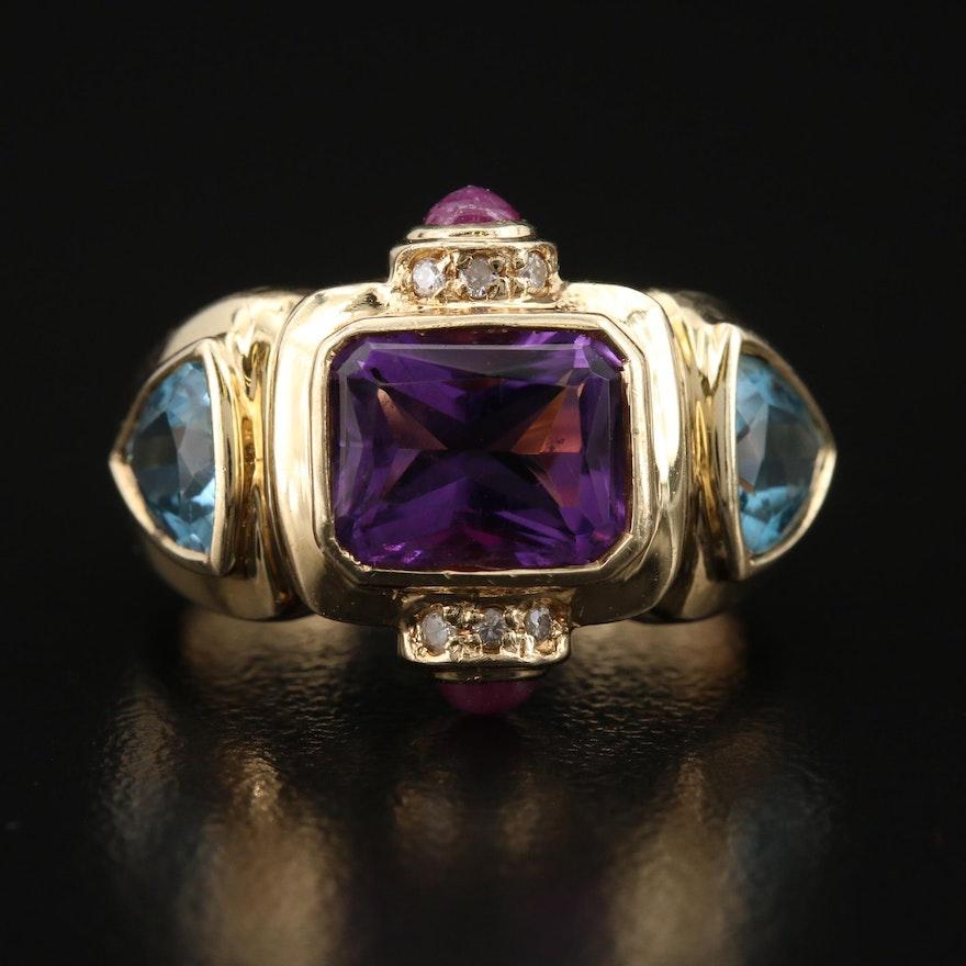 14K Amethyst, Diamond, Topaz and Ruby Ring